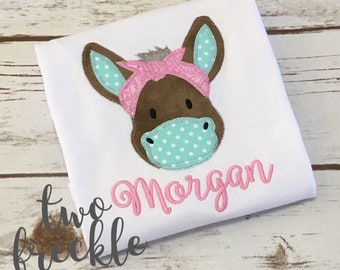 Mule Monogrammed Shirt, Donkey Shirt, Farm Animal Shirt, Personalized Mule Shirt - Girl or Boy