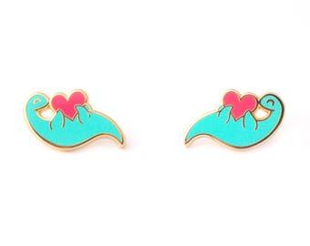 Plesiosaur Collar Pin Set (dinosaur pin hard enamel pin lapel pin badge nessie pin enamel jewelry cute dino cloisonne backpack pin brooch)