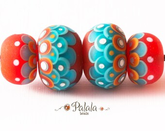 Set of turquoise and orange matted lampwork beads