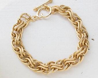 Vintage Oscar De La Renta Gold Tone Braided Textured Links Bracelet #OS151