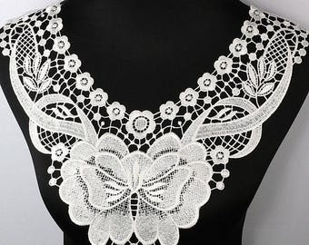 x 1 applique-guipure lace collar floral / Butterfly white 40 x 35 cm @90 sewing