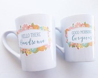 Couples greeting coffee mugs