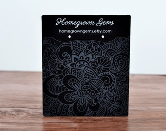 WHITE PRINT -  Ornate Floral Grey White Background | Earring Cards Display Packaging - Necklace Cards - Jewelry - Price Tags | DS0130