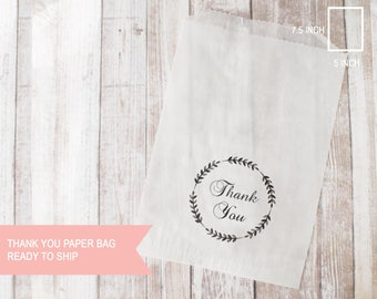 "5""x7"" thank you with wreath paper shopping bags 25pcs ready to ship"