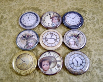 One Inch Dolls and Clock Flatback Buttons, Pins, Magnets 12 Ct.