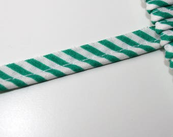 Green white stripe 11 mm, 1 m, exceeding lame piping