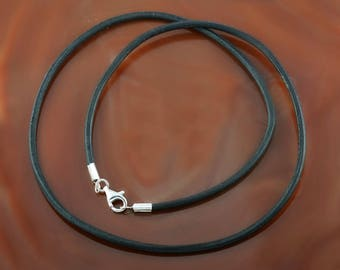 """2 mm black leather cord necklace with a silver clasp - men's/women's - 15.5""""/16""""/17""""/18""""/19""""/20""""/21""""/22""""/23'/24""""/25"""" inches"""