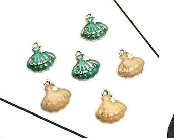 Shell Charms, 10PCS, 17*18MM, Enamel Charm, Seashells Charm, Scallop Charm, Bracelet Charms, Beach Charms, Craft Findings, Jewelry Supplies,