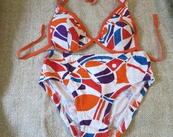 Vintage cotton swimsuit is soviet swimwear for women. Bikini swimming suit is beach wear