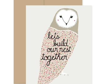 Build Our Nest Together Card, Valentines Day Card, Sweet Valentines Card, Valentine for Her, Best Valentines Day Card, Owl Valentine