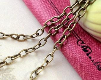 "1 Meter (3'3"") of 4 x 6 mm Antique Bronze Cross Chain / Bracelet / Necklace (.am)"