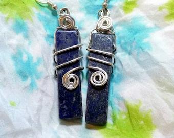 Lapis Lazuli Pure Silver Earrings Wire Wrap Pendant by Jessy Bloom