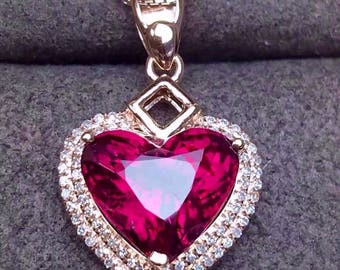 Rubellite Pendant Eye Clean Rubellite Tourmaline Faceted Heart 10 x 8.5 MM Diamond 18K Rose Gold Pendant Jewelry