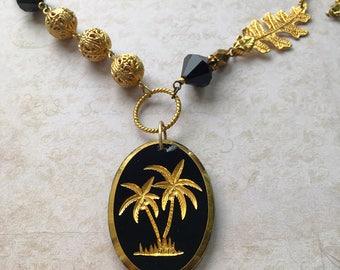 Vintage German Glass Palm Tree Intaglio Necklace, Vintage Palm Tree Necklace,Black Glass Palm Tree Pendant, Vintage Glass Intaglio Pendant