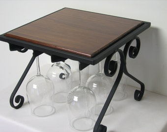 Wine glass rack with English Chestnut stained top.