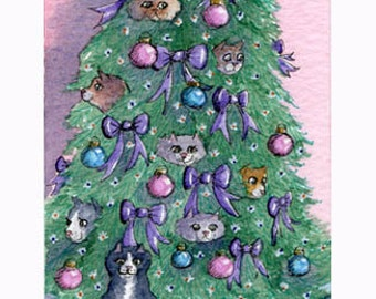 Cats hiding out in the Christmas tree 8x10 art print
