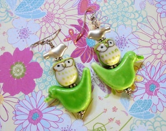 Light Green and Silver Bird and Owl Earrings (3867)