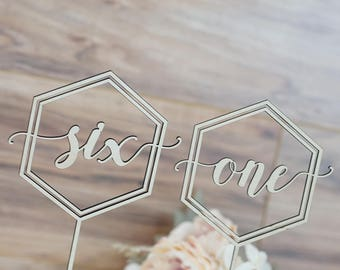 Hexagon Geometric Laser Cut Table Number Signs