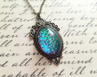 Thousand Eyes Oval Glass Cabochon Necklace. Dragon Egg. Blue. Green. Aqua. Deco Style Setting. Brass. Vintage Style. Silver. Under 15 Gifts.