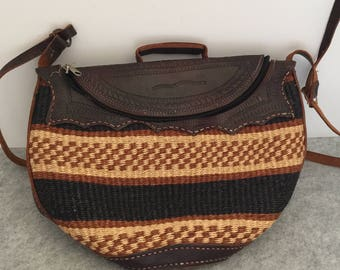 Vintage Kenya Jute Sisal Market Bag Leather Boho Straw Tote