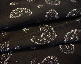 Black Sheer Paisley Glitter Costume Fabric Over 1 Yd x 60""