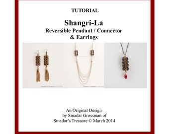 Beading Tutorial, Shangri La, Reversible Pendant / Earrings / Connector Bead. How To Pattern with Piggy and Tila Beads by Smadar Grossman