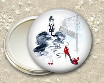 fashionista pocket mirror,  original art hand mirror, mirror for purse, fashion accessory,  bridesmaid gift, stocking stuffer MIR-FASH-2