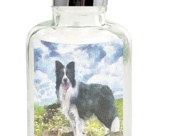 Border Collie Andrew - Clear Glass Soap Dispenser