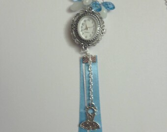 Necklace shown in blue and white
