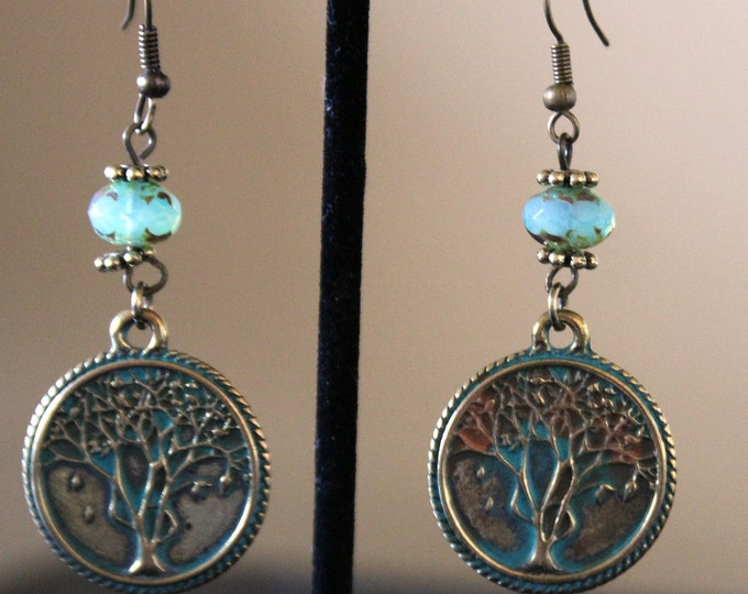 Brass Tree of Life Dangle Turquoise Patina Colored Earrings