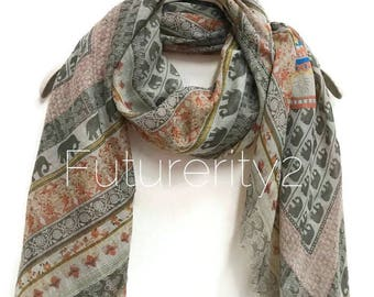 Bohemian Inspired Small Elephant Light Grey Scarf / Spring Summer Scarf / Gifts For Her / Women Scarves / Handmade Accessories