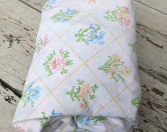 Vintage Twin Sheet Set--Cross Stitch Floral--No pillowcases. Vintage Sheet set. Vintage Twin Sheets.