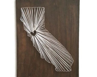 String Art - Nail and String Art - State String Art - California String Art - State Shape - Personalized String Art - State Shape String Art