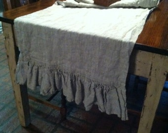 Nice Washed Linen Ruffled Throw Or Table Runner   Extra Wide Table Runner