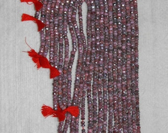 AB, Ruby, AB Ruby, AB Ruby Rondelle, Faceted Rondelle, Diamond Coating, Precious Stone, Natural Stone, Full Strand, 4 mm, AdrianasBeads
