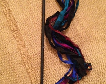 Cat Toy Sari Fabric Wand