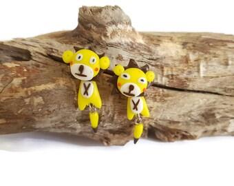 Yellow lion earrings