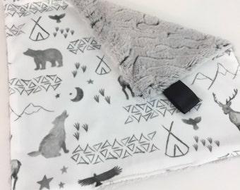 Lovey - Lovey Blanket - Minky Lovey Blanket - Woodland Lovey - Deer Lovey - Bear Lovey - Grey Nursery - Woodland Crib Bedding - Baby Blanket