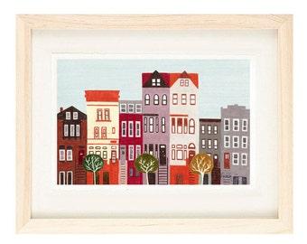 BROOKLYN, NEW YORK - Large Colorful Illustration Art Print  8 x 10 or 11 x 17