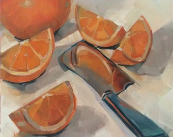 Orange Slices, Knife, Original Oil Painting, 8 x 8 inches, free domestic shipping
