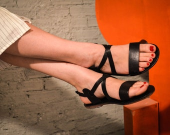 Strappy Sandals, Black Leather Sandals, Summer Flats, Women Shoes, Leather Flats, Greek Sandals,Leather Sole