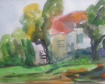 """An original watercolor painting signed by Bella Sciaky (1907-2001)14X10"""" Landscape -one of a kind- Vintage handmade from 1979"""