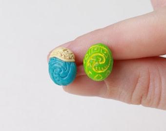 Moana earrings Heart of Te Fiti stud earrings Moana Jewelry Vaiana accessories Gift moana stone Blue stone moana ocean heart Moana Cosplay