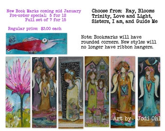 IN STOCK NEW BookMarks  7 for 15.00 save 6 dollars with rounded corners and new design. Bundle special Angels, Bloom, Fish