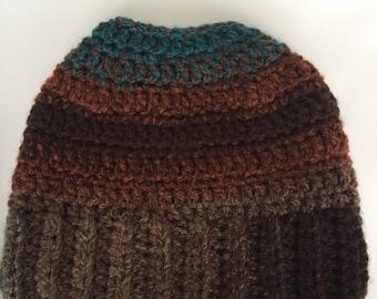 Messy bun hat beanie unisex natural colors