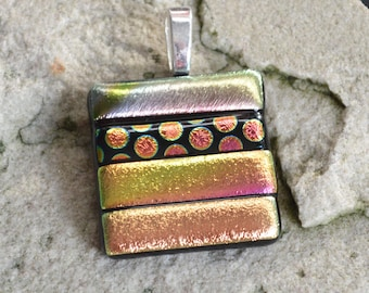 Dichroic Glass Pendant Silvery Gold Metallic and Spot Pattern Stripes Square With Your Choice of Silver or Gold Bail Fitting - Gift Boxed