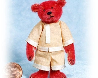 Little Red Ted - Miniature Teddy Bear Kit - Pattern - by Emily Farmer