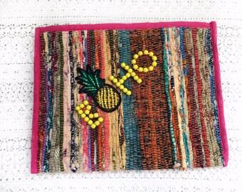 Kilim Kourelou Handmade Bag, Boho Bag, Pouch Bag, Cosmetics Bag, Embellished Bag, Boho Summer, Women Accessories, ''Pineapple Salad''