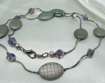 Gunmetal and Purple Necklace