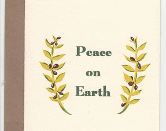 Peace on Earth Letterpress and Painted Christmas Card